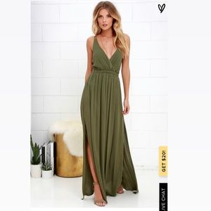 Lulus lost in paradise olive green maxi